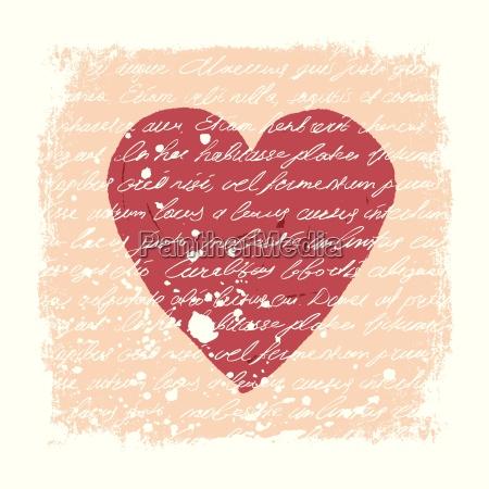 romantic design template handwritten texture heart