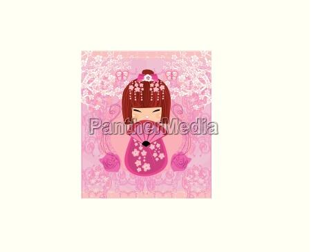 kokeshi doll cartoon character beautiful