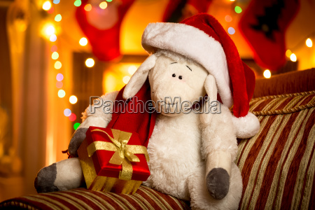 toy sheep with gift box at