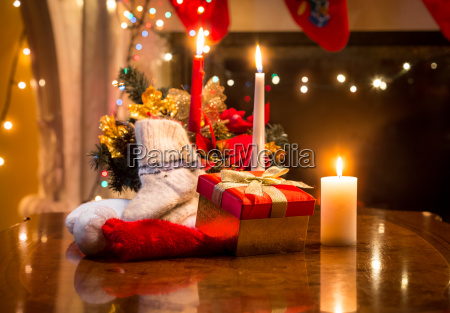 candles gift box and woolen sock