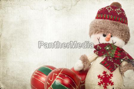 weihnachtsdekoration mit schneemann
