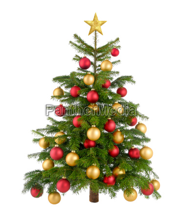 rot und gold geschmueckter weihnachtsbaum
