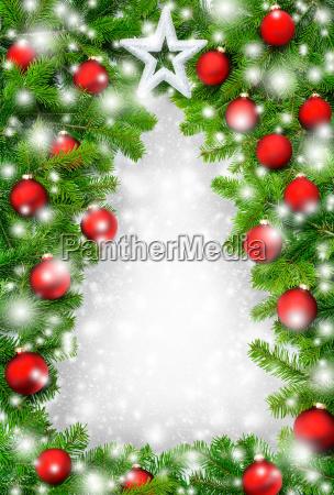kreativer rahmen weihnachtsbaum im schnee