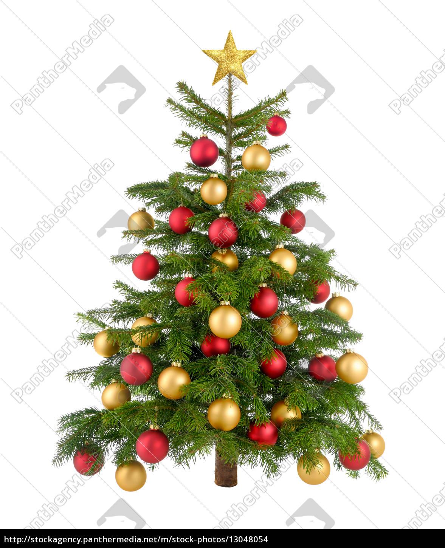 rot und gold geschm ckter weihnachtsbaum stock photo. Black Bedroom Furniture Sets. Home Design Ideas