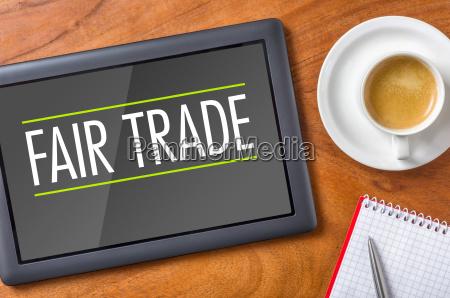 tablet on desk fairtrade