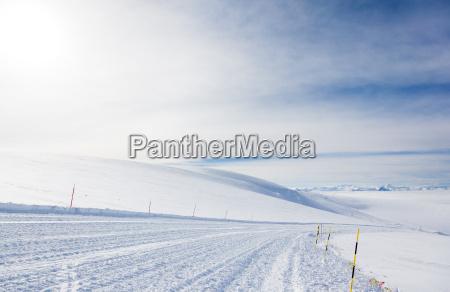 empty ski slope in high mountain