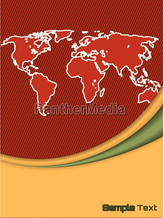 company brochure with outlined world map