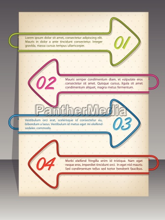 arrow shaped binding clip infographic design