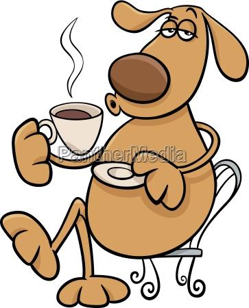 dog with coffeel cartoon illustration