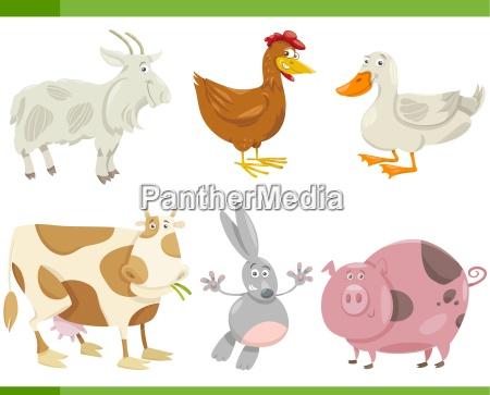 nutztieren cartoon set illustration