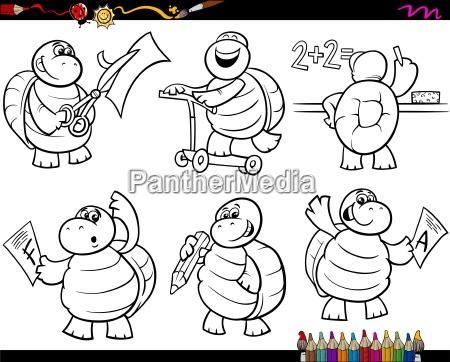 schule, schildkröte, gesetzt, cartoon, malvorlagen - 13075372