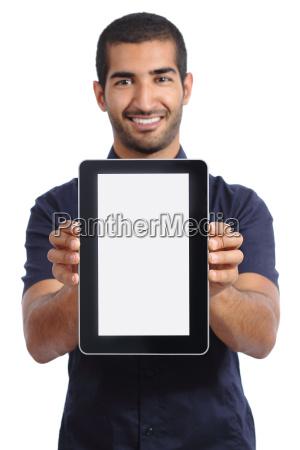 arab man showing an app in