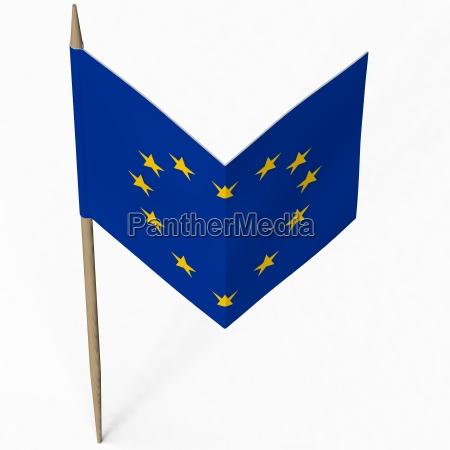 papierflagge von europa bildet herz