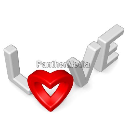 schriftzug love bildet herz 2