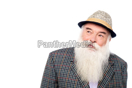 old man with hat looking up