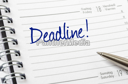 appointment calendar with the entry deadline