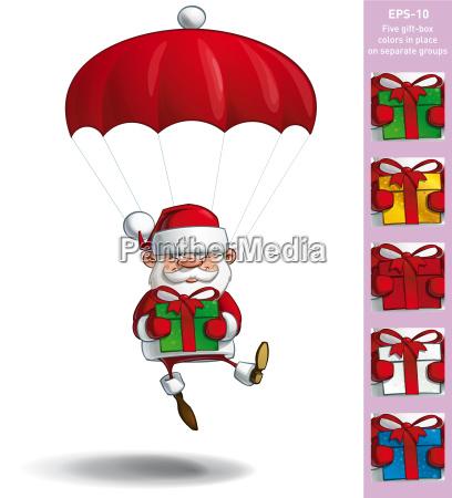 happy santa parachute halten geschenke