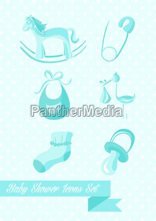 baby shower boy icons set design