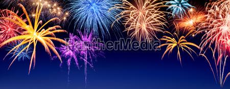 feuerwerk, panorama, auf, dunkelblau - 13119456