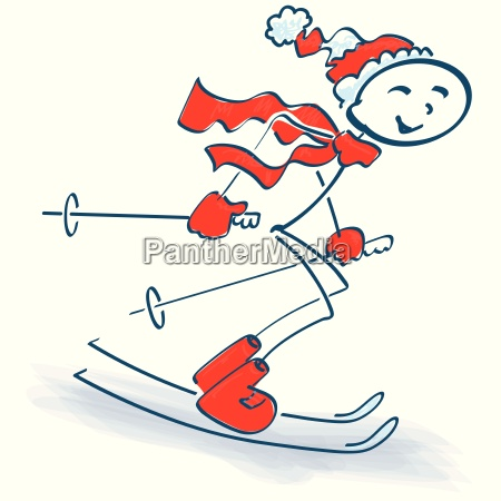 stick figure and skiing