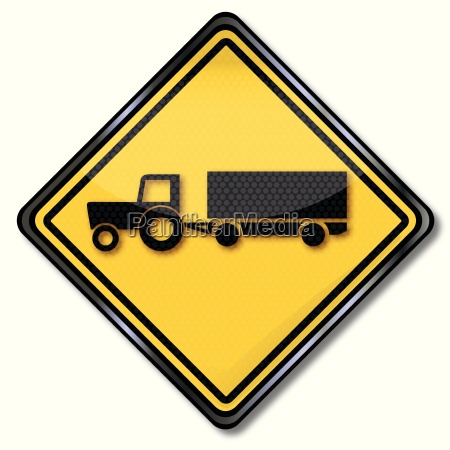 sign with tractor with trailer