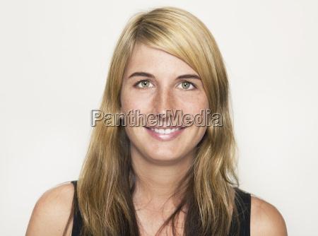 laughing blonde woman portrait