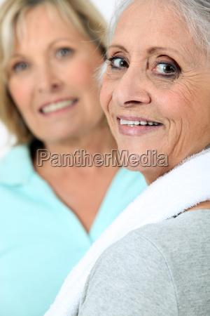two old women in sportswear
