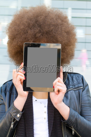 young woman with tablet with empty