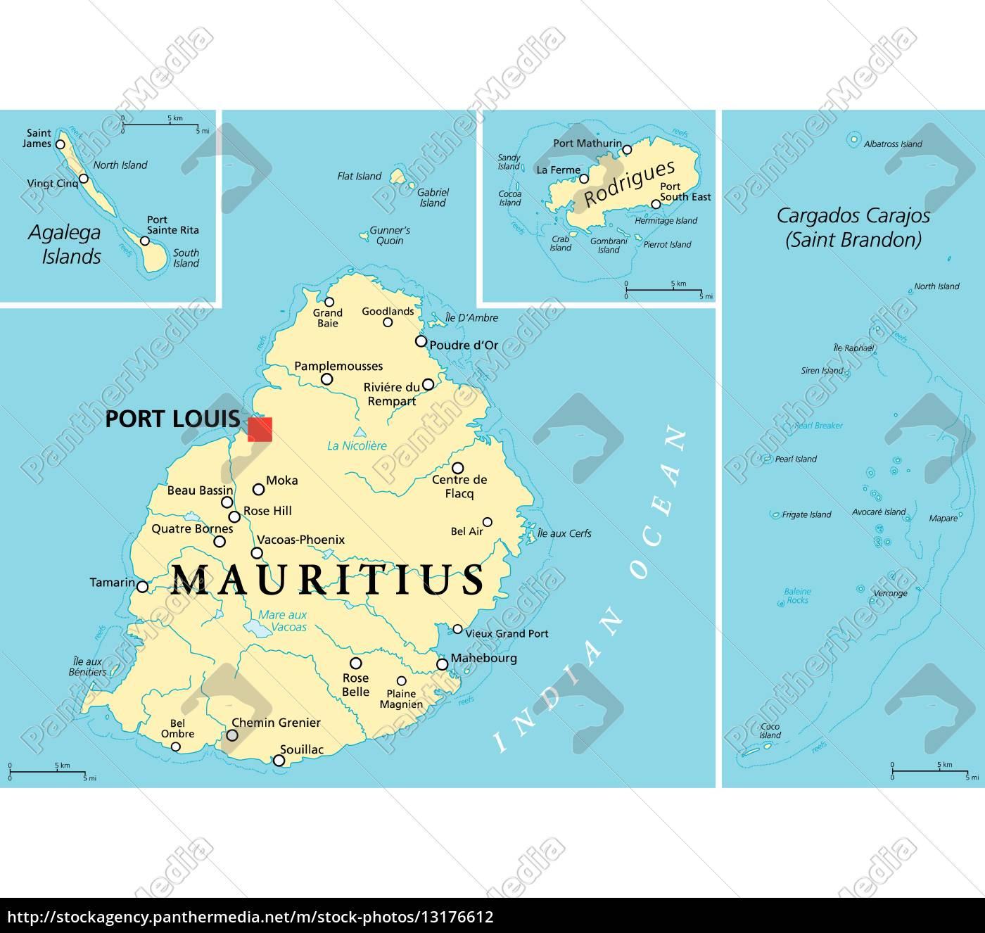 Mauritius Politische Karte Lizenzfreies Foto 13176612