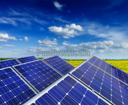 solarbatterieplatten im sommer fruehjahr bluehenden laendlichen