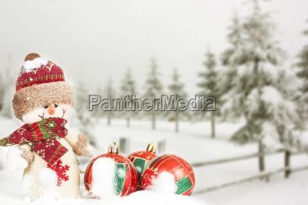 christmas card with christmas decorations and