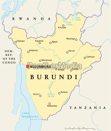 burundi politische karte