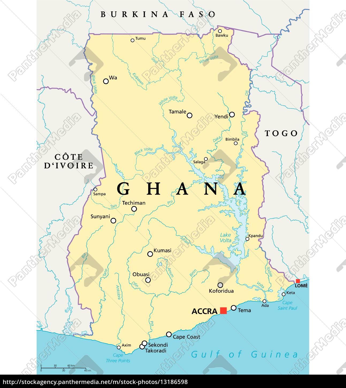 Ghana Karte.Lizenzfreie Vektorgrafik 13186598 Ghana Politische Karte