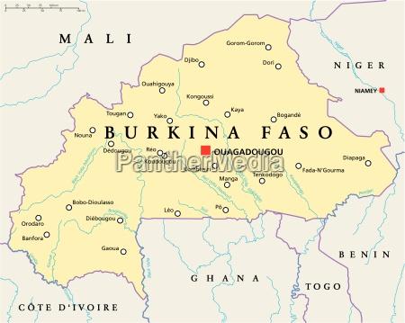 politische karte von burkina faso