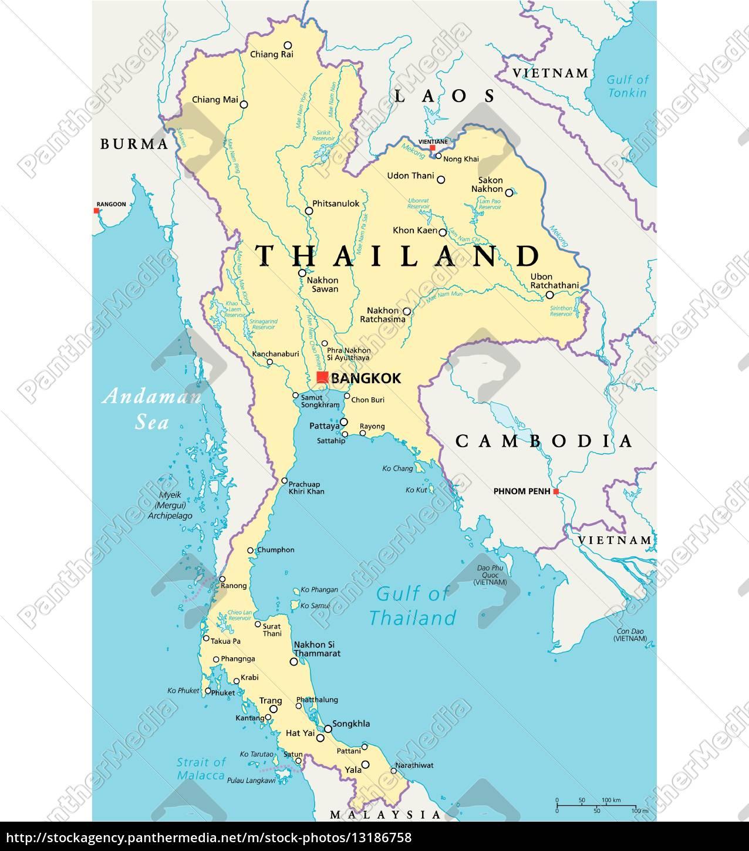 Thailand Karte.Lizenzfreie Vektorgrafik 13186758 Thailand Politische Karte