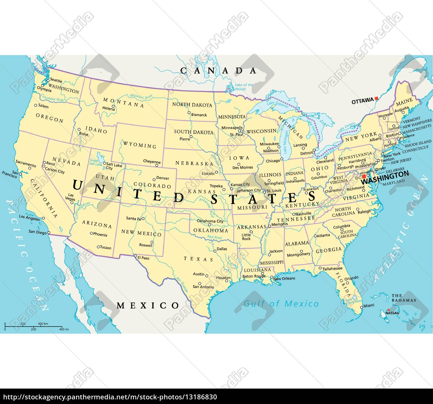 united states of america political map - Stockfoto - #13186830 ...