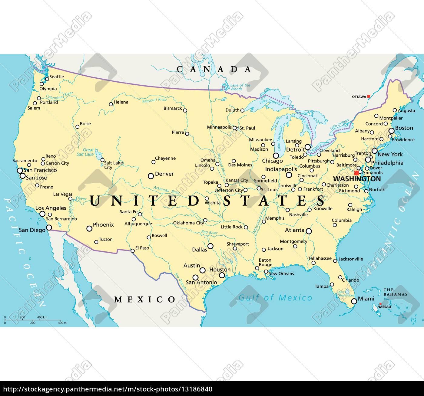 united states of america political map - Lizenzfreies Foto ...