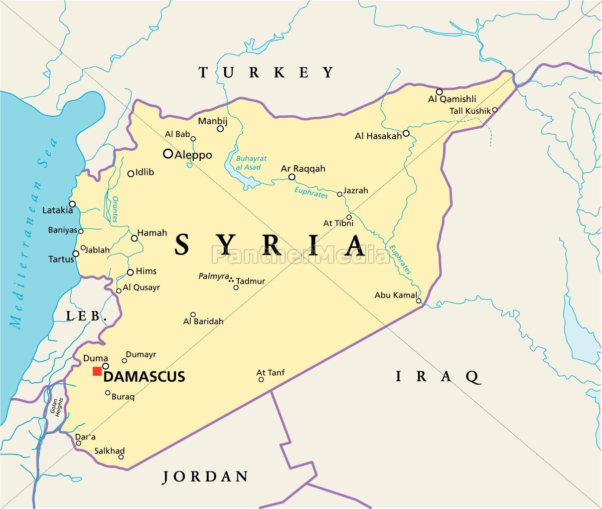 Karte Syrien.Lizenzfreie Vektorgrafik 13190808 Syrien Politische Karte