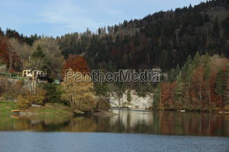 frankreich natur see spiegelung herbst lac