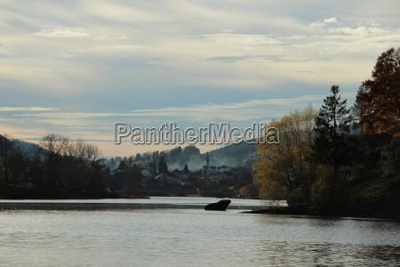 frankreich natur see herbst wolken lac
