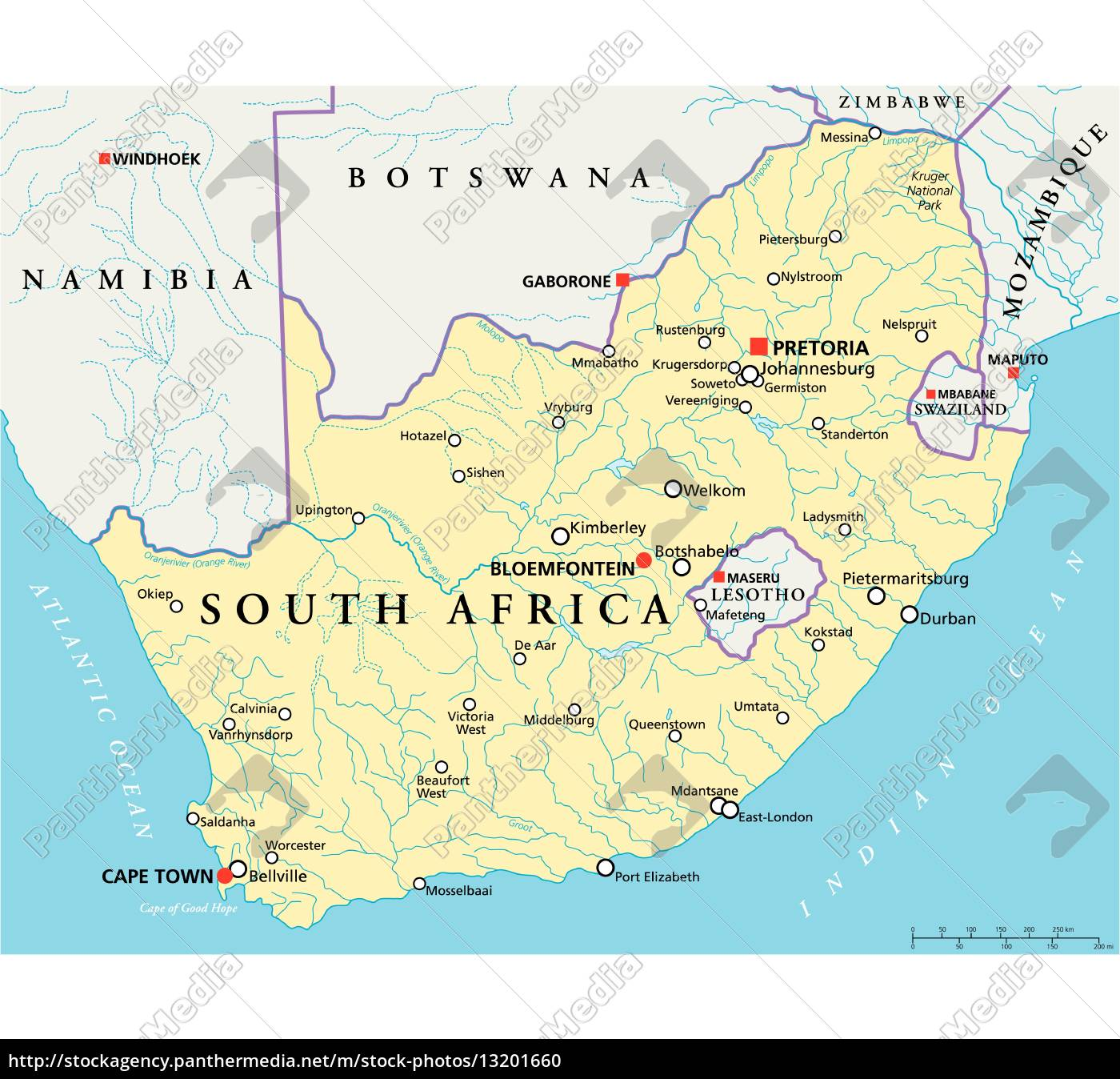 Südafrika Karte.Lizenzfreie Vektorgrafik 13201660 Südafrika Politische Karte