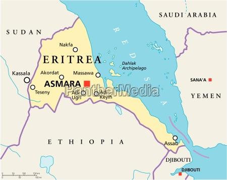 politische karte in eritrea