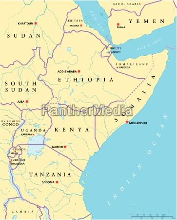 ostafrika politische karte