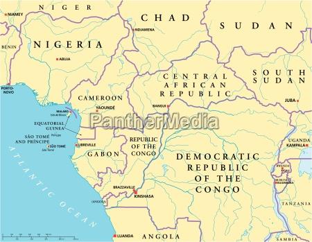 west zentralafrika politische karte