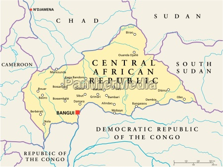 zentralafrikanische republik politische karte