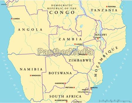 sued zentralafrika politische karte