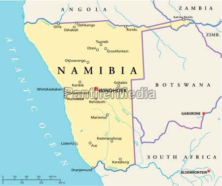 namibia politische karte