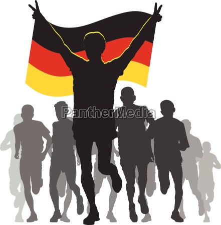 athlete with the germany flag at