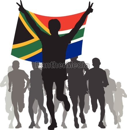 winner with the south africa flag