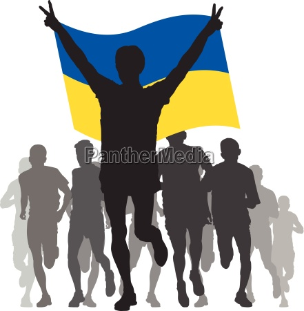 winner with the ukraine flag at